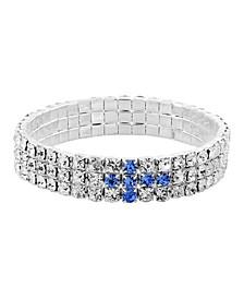 Silver-Tone Blue Rhinestone Cross Stretch Bracelet