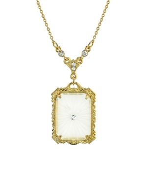 """Gold-Tone Frosted Lalique-Inspired Square Pendant Necklace 16"""" Adjustable"""
