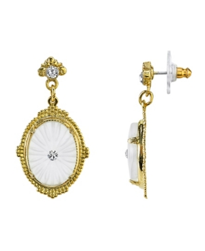 Gold-Tone Frosted Lalique-Inspired Oval Drop Earrings