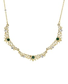 "Downton Abbey Gold-Tone Belle Epoch Filigree Scallop Emerald Color Crystal Necklace 16"" Adjustable"