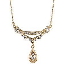 "Downton Abbey Gold-Tone Crystal Edwardian Swag Shaped Collar Necklace 16"" Adjustable"