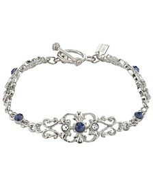 Silver-Tone Crystal and Blue Crystal French Scroll Filigree Link Toggle Bracelet