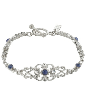 Vintage Style Jewelry, Retro Jewelry Downton Abbey Silver-Tone Crystal and Blue Crystal French Scroll Filigree Link Toggle Bracelet $35.00 AT vintagedancer.com