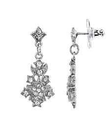 Downton Abbey Silver-Tone Belle Epoch Starburst Pave Crystal Accents Drop Earrings