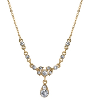 """Gold-Tone Belle Epoch with Crystal Accent Stones Drop Necklace 16"""" Adjustable"""