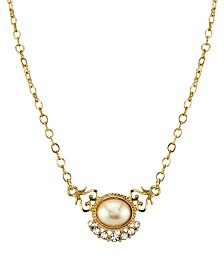"Downton Abbey Gold-Tone Simulated Pearl and Crystal Pendant Necklace 16"" Adjustable"