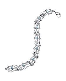 Silver-Tone Light Blue Crystal Link Bracelet