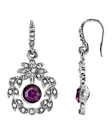 Downton Abbey Silver-Tone Clear and Purple Crystal Wire Drop Earrings