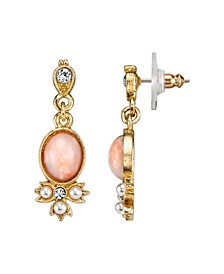 Gold-Tone Peach Color Simulated Pearl and Crystal Drop Earrings