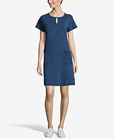 JohnPaulRichard Short Sleeve Dress with Keyhole Neck