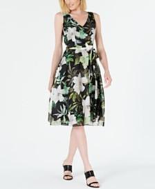 Tahari ASL Floral-Print A-Line Dress
