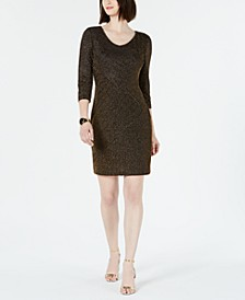 Ribbed Metallic Sheath Dress