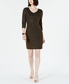 Ribbed Metallic Sheath Dress