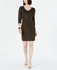 Connected Ribbed Metallic Sheath Dress