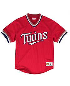 Mitchell & Ness Men's Minnesota Twins Mesh V-Neck Jersey