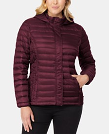 32 Degrees Plus Size Hooded Packable Down Puffer Coat