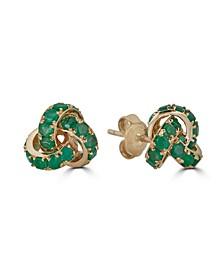Emerald Love Knot Stud Earrings (4 ct.t.w.) in 14K Yellow Gold