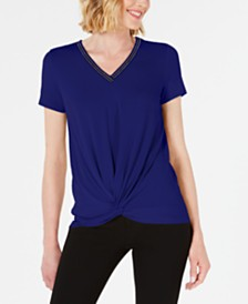 JM Collection Petite Embellished Twist-Front Top, Created for Macy's