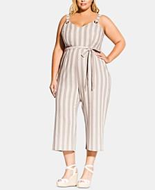 Trendy Plus Size Carmine Striped Cropped Jumpsuit