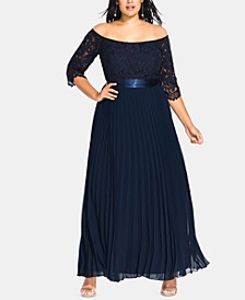Trendy Plus Size Intriguing Off-The-Shoulder A-Line Gown