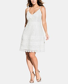 City Chic Trendy Plus Size Tiered-Lace Dress