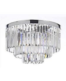 Palladium Empress Crystal (Tm) Glass Fringe 3-Tier Flush Chandelier Lighting Chrome Finish
