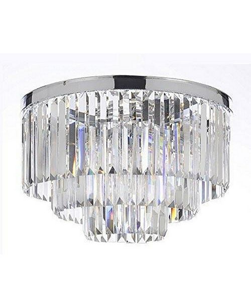 Harrison Lane Palladium Empress Crystal (Tm) Glass Fringe 3-Tier Flush Chandelier Lighting Chrome Finish