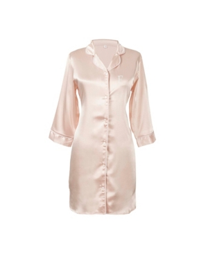 CATHY'S CONCEPTS PERSONALIZED MONOGRAM BLUSH SATIN NIGHTSHIRT, ONLINE ONLY