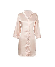 Cathy's Concepts Personalized Blush Satin Night Shirt in L/XL
