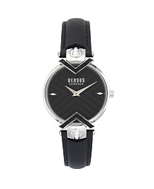 Versus Women's Black Leather Strap Watch 16mm