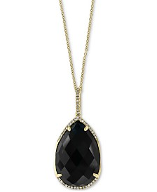 "EFFY® Onyx (22 x 15mm) & Diamond (1/8 ct. t.w.) 18"" Pendant Necklace in 14k Gold"