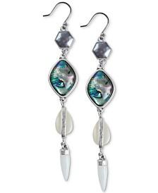Lucky Brand Silver-Tone Stone & Imitation Pearl Geometric Linear Drop Earrings