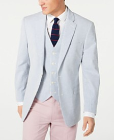 Tommy Hilfiger Men's Modern-Fit THFlex Stretch Seersucker Stripe Sport Coat & Vest Suit Separates