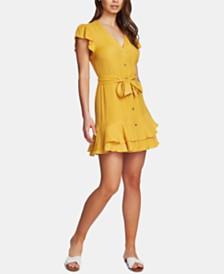 1.STATE Button-Front Asymmetrical Dress