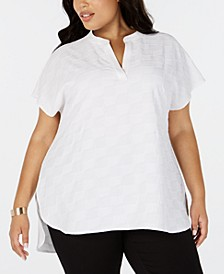 Plus Size Split-Neck Textured Top, Created for Macy's