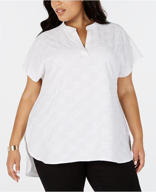 Alfani Plus Size Split-Neck Textured Top, Created for Macy's