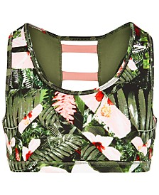 Ideology Big Girls Printed Strappy-Back Sports Bra, Created for Macy's