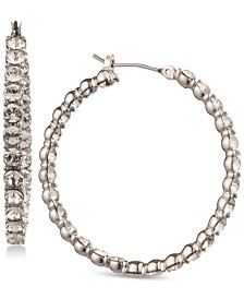 Givenchy Silver-Tone Inside-Out Crystal Hoop Earrings