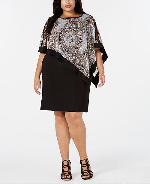 R & M Richards Plus Size Asymmetrical Poncho Dress