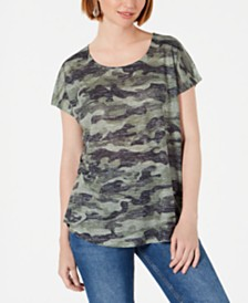 Style & Co Camo-Print Scoop-Neck Top, Created for Macy's