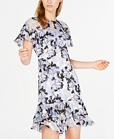 Floral-Print Ruffle A-Line Dress