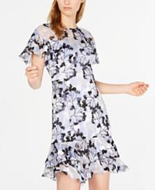 Elie Tahari Floral-Print Ruffle A-Line Dress
