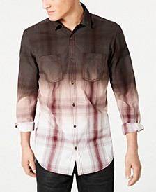INC Men's Regular-Fit Dip-Dyed Plaid Shirt, Created for Macy's