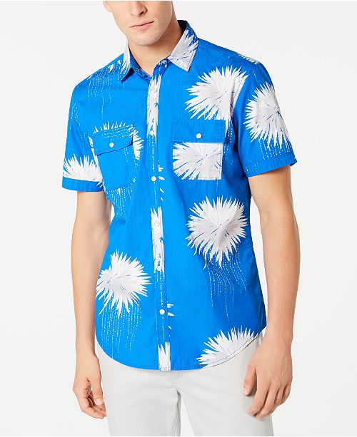 INC International Concepts INC Men's Regular-Fit Dripping Palm-Print Shirt, Created for Macy's