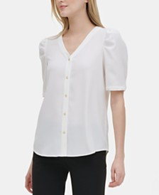 Calvin Klein V-Neck Button-Front Top