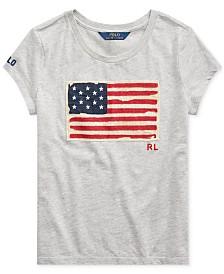 Polo Ralph Lauren Big Girls Flag Graphic T-Shirt