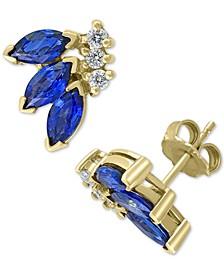 EFFY® Sapphire (2 ct. t.w.) & Diamond (1/6 ct. t.w.) Stud Earrings in 14k Gold