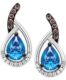 Le Vian® Ocean Blue Topaz (1-3/8 ct. t.w.) & Diamond (1/6 ct. t.w.) Drop Earrings in 14k White Gold