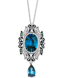 "Le Vian® Deep Sea Blue Topaz  18"" Pendant Necklace (17-1/4 ct. t.w.) in 14k White Gold"