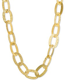 "Hammered Oval Link Necklace in 18k Gold-Plate Over Sterling Silver, 16"" + 2"" Extender, Created for Macy's"
